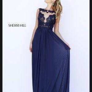 Sherri hill blue gown illusion neckline